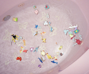 bath, pink, and toys image