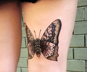 tattoo, moth, and thigh image