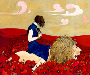 poppy, lion, and art image