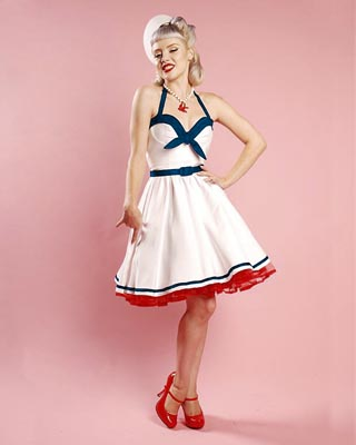f7c1127bd Limited Edition  Sailor Swing Dress in White with Navy Trim by Pinup ...