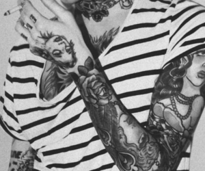 tattoo, black and white, and cigarette image