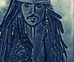 black, depp, and drawing image