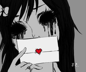 anime, broken hearts, and black and white image