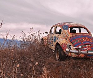 car, hippie, and peace image