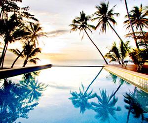 beautiful, pool, and sunset image