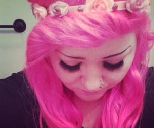 hipster, pink, and pink hair image