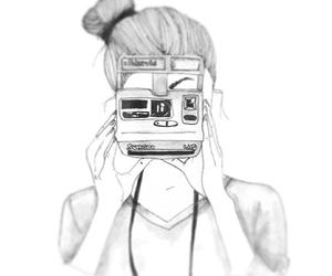 girl, camera, and drawing image