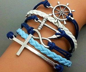 bracelet, blue, and anchor image