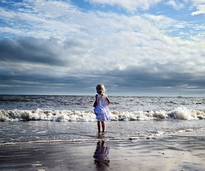beach, child, and little girl image