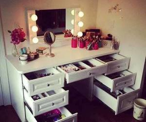 desk, makeup, and fashion image