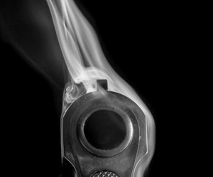 gun, smoke, and black image
