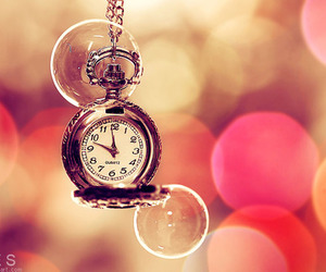 time, clock, and pink image