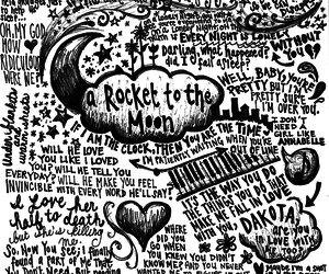 a rocket to the moon, Lyrics, and love image