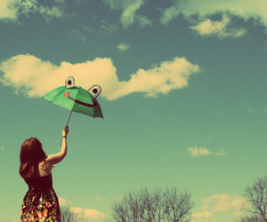 umbrella, girl, and sky image