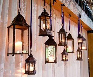 candles, lanterns, and wedding image