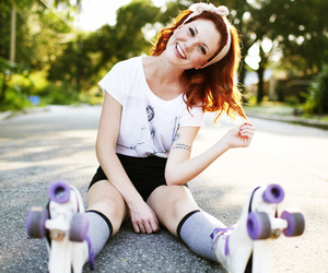 girl, photography, and roller skates image