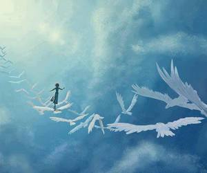 sky, bird, and Dream image