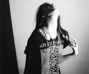 girl, black and white, and joy division image