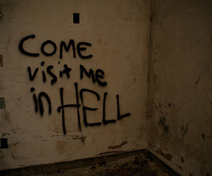 hell, text, and dark image