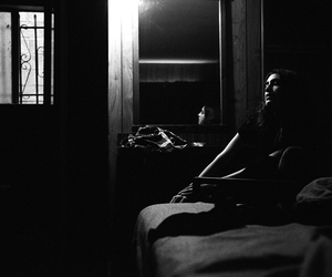 bedroom, black and white, and pain image