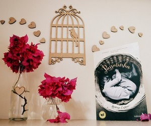 bird, book, and flower image