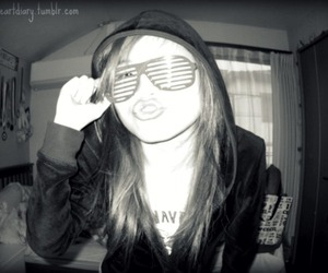 girl, shutter shades, and sunglasses image