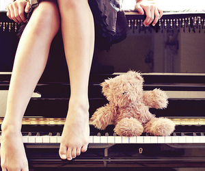 photography, piano, and teddy bear image