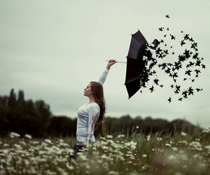 umbrella, girl, and leaves image