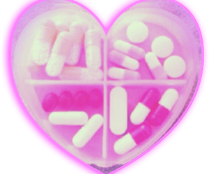 pink, pills, and heart image