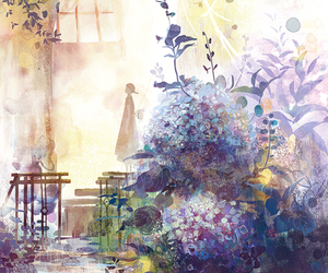 art, anime, and flowers image