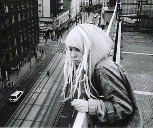 girl, dreads, and black and white image