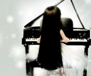 girl, instruments, and piano image