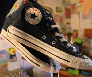 all star, converse, and black image