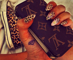 nails, Louis Vuitton, and leopard image