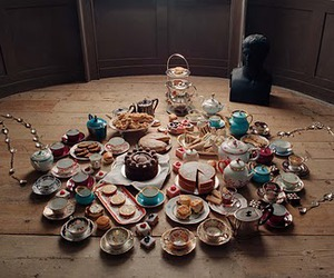 tea, cake, and teapot image