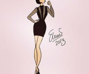 black dress, drawing, and pretty image