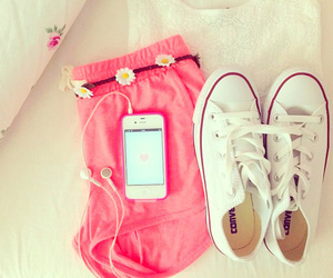 converse, pink, and iphone image