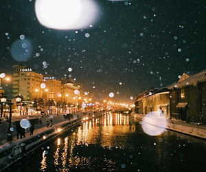 light, city, and snow image