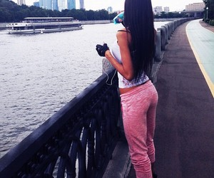girl, fitness, and pink image
