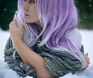 hair, snow, and purple image