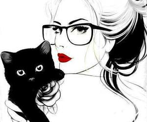 b&w, black cat, and model image