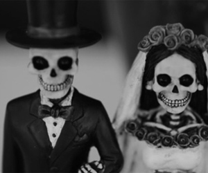 skull, black and white, and couple image