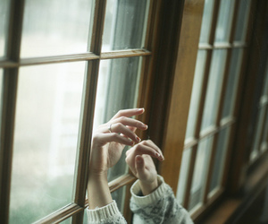 hands, window, and vintage image