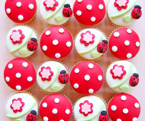 cupcake, food, and ladybug image