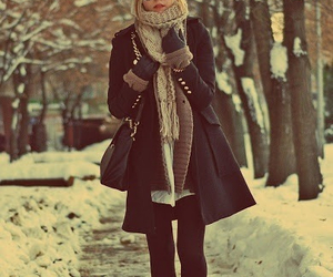 blond, hair, and snow image