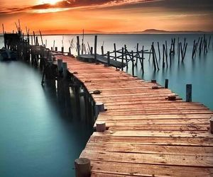 ocean, wood, and path image