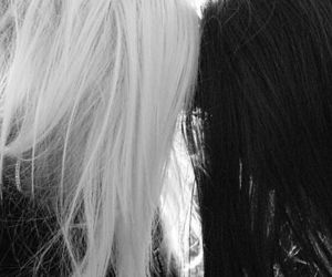 hair, black and white, and blonde image
