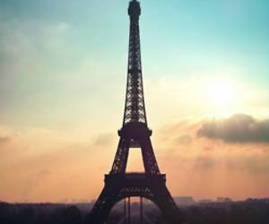 paris, eiffel tower, and sunset image