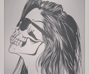 black and white, drawing, and skull image
