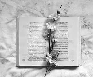 book, flowers, and black and white image